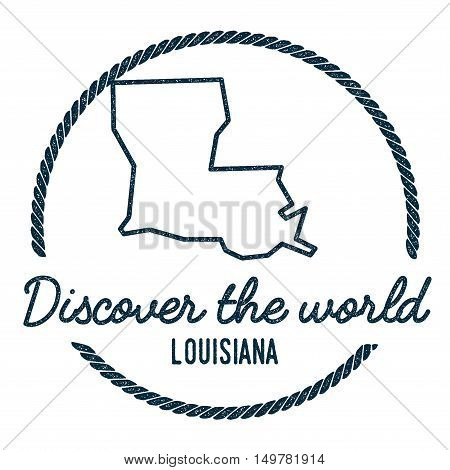 Louisiana Map Outline. Vintage Discover The World Rubber Stamp With Louisiana Map. Hipster Style Nau
