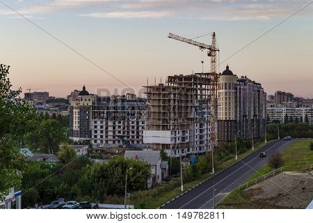 BELGOROD RUSSIA - SEPTEMBER 10 2016: Housing construction in the Belgorod city. The construction of the residential complex