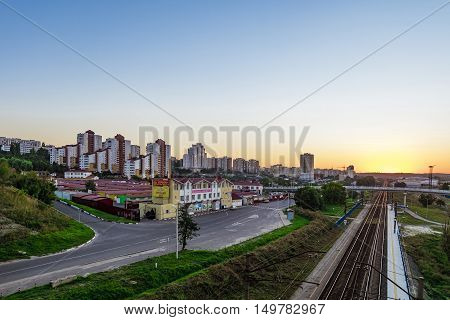 BELGOROD RUSSIA - SEPTEMBER 10 2016: Railway tracks in the direction of the border with Ukraine. Street Market