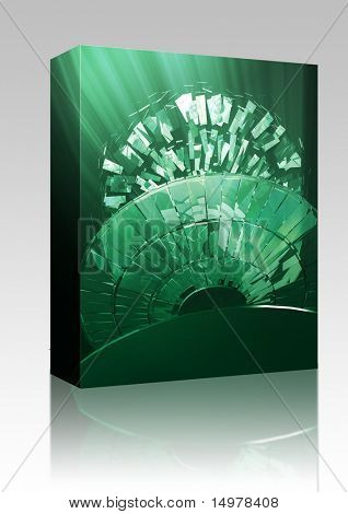 Software package box Data information loss and corruption illustration, shattered cd