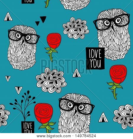 Blue sky seamless pattern with smart owls and beautiful red roses. Vector background of birds and flowers. Cool print for wrapping paper and fabric.