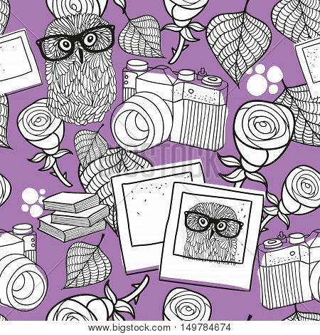 Seamless pattern for coloring with smart owls and old camera on the purple background. Vector illustration.