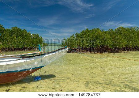 A small boat in clear water in Honda Bay, Palawan
