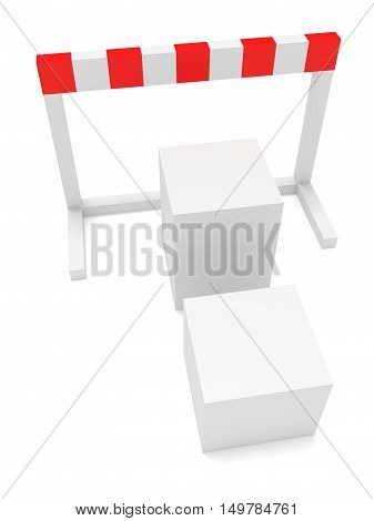 Cubes As Stairs In Front of A Hurdle 3d illustration