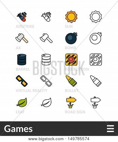 Black and color outline icons, slim line pictograms vector set 14 - Games symbol collection