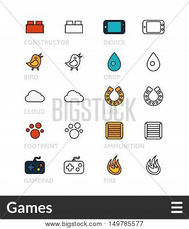 Black and color outline icons, slim line pictograms vector set 13 - Games symbol collection