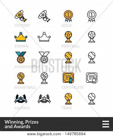 Black and color outline icons, slim line pictograms vector set 58 - Winning, Prizes and awards symbol collection