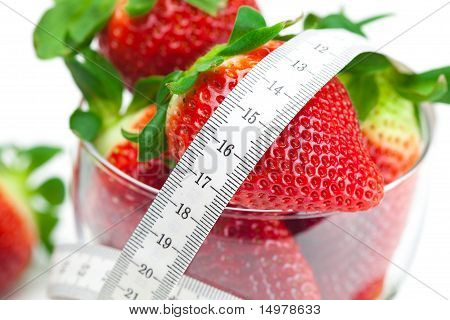 Big Juicy Red Ripe Strawberries In A Glass Bowl Isolated On White