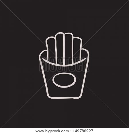 French fries vector sketch icon isolated on background. Hand drawn French fries icon. French fries sketch icon for infographic, website or app.