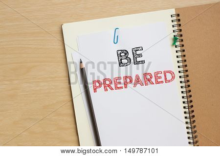Text be prepared on white paper and pencil / business concept