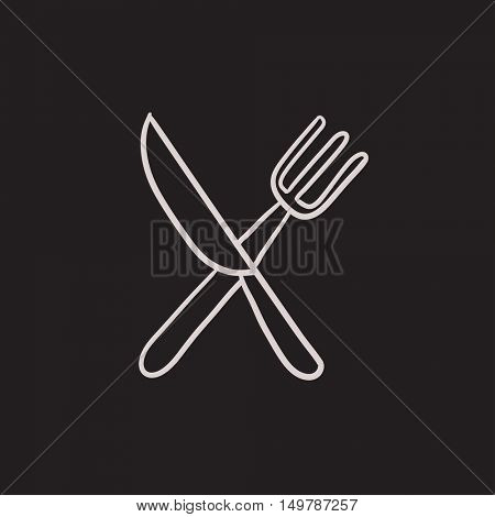 Knife and fork vector sketch icon isolated on background. Hand drawn Knife and fork icon. Knife and fork sketch icon for infographic, website or app.