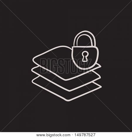 Stack of papers with lock vector sketch icon isolated on background. Hand drawn Stack of papers with lock icon. Stack of papers with lock sketch icon for infographic, website or app.