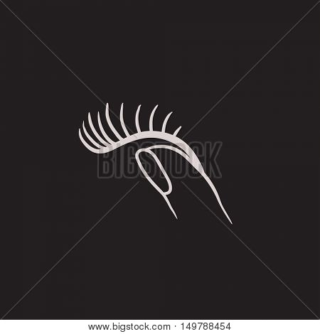 False eyelashes vector sketch icon isolated on background. Hand drawn False eyelashes icon. False eyelashes sketch icon for infographic, website or app.