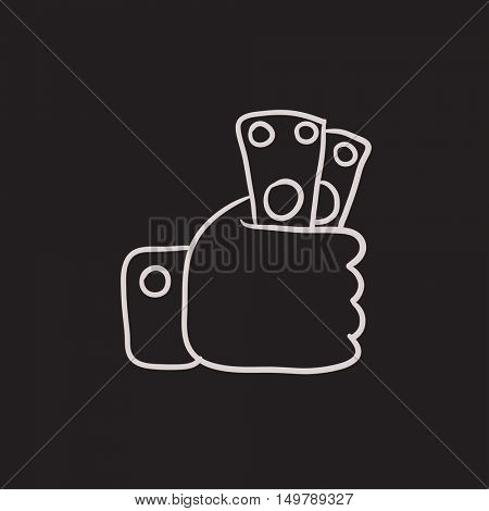 Hand holding money vector sketch icon isolated on background. Hand drawn Hand holding money icon. Hand holding money sketch icon for infographic, website or app.