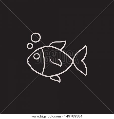 Small fish vector sketch icon isolated on background. Hand drawn Small fish icon. Small fish sketch icon for infographic, website or app.