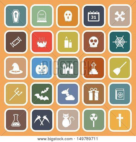 Halloween flat icons on orange background, stock vector