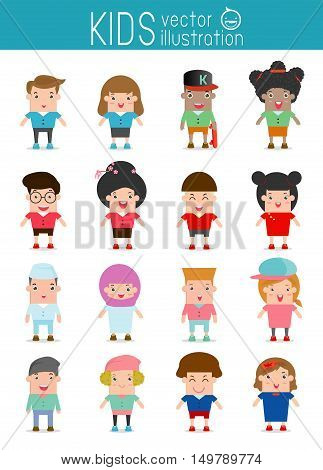Set of diverse kids isolated on white background. people characters, Different nationalities and dress styles. kids European , America's , Asian children,African, muslim, children,people,Vector