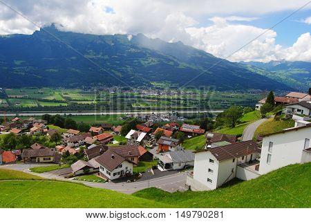 View over Triesenberg village in Principality Liechtenstein.