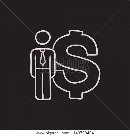 Businessman stands near dollar symbol vector sketch icon isolated on background. Hand drawn Businessman near dollar symbol icon. Businessman near dollar sketch icon for infographic, website or app.