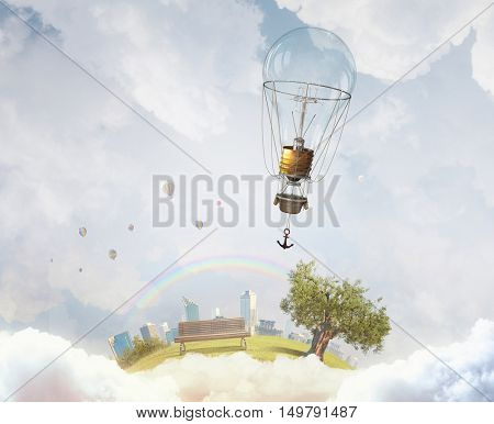 Aerostats flying high . Mixed media