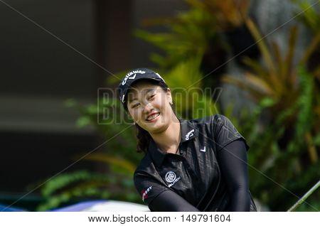 CHONBURI - FEBRUARY 27 : Xi Yu Lin of China in Honda LPGA Thailand 2016 at Siam Country Club Pattaya Old Course on February 27 2016 in Chonburi Thailand.