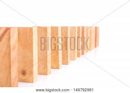 Row Of Wooden Block Tower Game Children Isolated On White