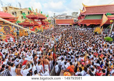 Phuket, Thailand - September 30 : An Unidentified People A Perform A Ceremony Set The Sacred Wood Po