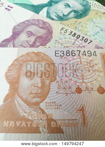 Republika Hrvatska money background, close up of Croatian kuna