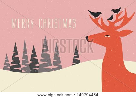 christmas greeting card winter scene with deer and birds perched on his antlers