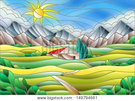 Illustration in stained glass style landscape with a lonely house amid fields mountains and sky