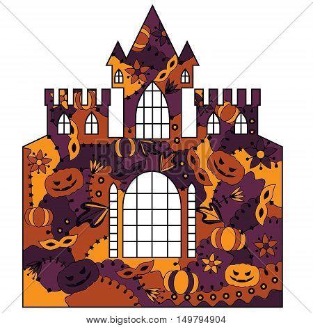 vector silhouette, stencil, template halloween castle colorful