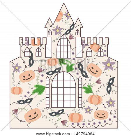 vector silhouette, stencil, template halloween castle vintage