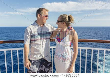 Happy Married Couple on a cruise ship vacation together