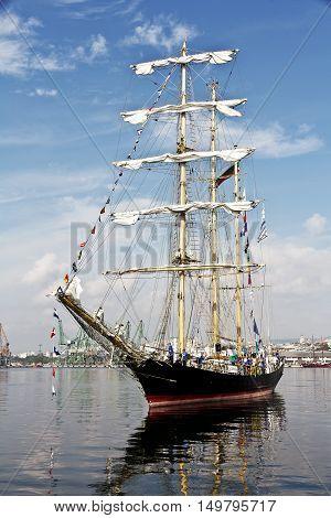 Varna, Bulgaria - October 01: international Tall Ships fleet is returning to the Black Sea 2016. Bulgarian tall ship Kaliakra