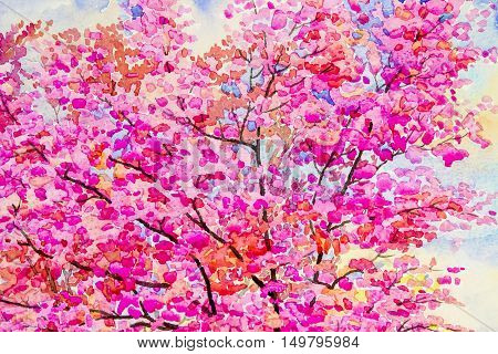 Watercolor painting original landscape yellow pink color of wild himalayan cherry in sky and cloud background