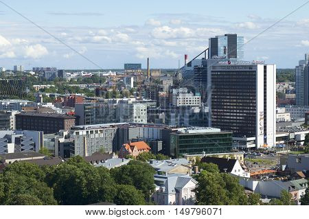 TALLINN, ESTONIA - AUGUST 01, 2015: Top view of modern Tallinn, july afternoon. Tourist landmark of the city Tallinn.