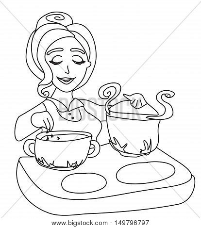 housewife cooking soup on white background , doodle illustration