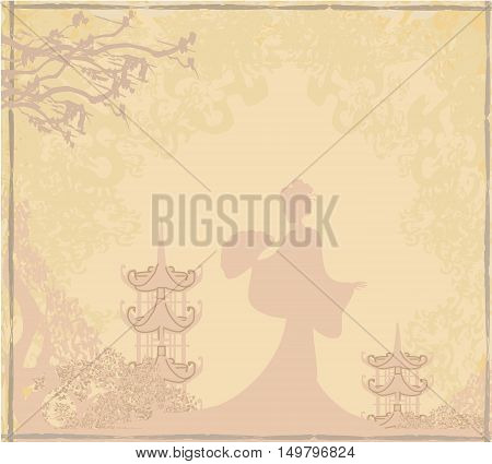 grunge abstract landscape with Asian girl silhouette , vector illustration