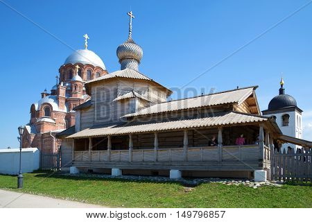 SVIYAZHSK, RUSSIA - MAY 02, 2016: Ancient wooden Trinity Church in St. John the Baptist monastery, sunny may day. Religious landmark  of the Sviyazhsk, Tatarstan.