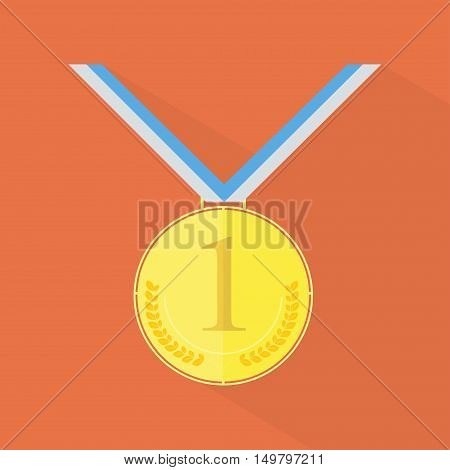 Gold medal, first place with tapes and long shadow on the background
