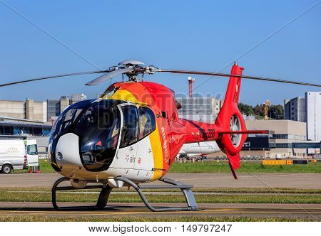 Kloten, Switzerland - 30 September, 2016: Eurocopter EC 120B Colibri helicopter in the Zurich Airport. Eurocopter (now Airbus Helicopters) EC120 Colibri (English: hummingbird) is a five-seat, single-engine, light helicopter.