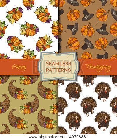 Autumn leaf, corn, cornucopia, grape, pilgrim's hat, pumpkin, turkey, apple and pear. Boundless pattern for your festive design. Harvest time templates.