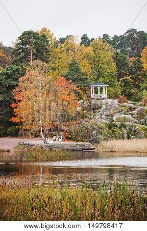 Gazebo in Monrepo (Mon Repos) manor park. Autumn landscape. Vyborg.