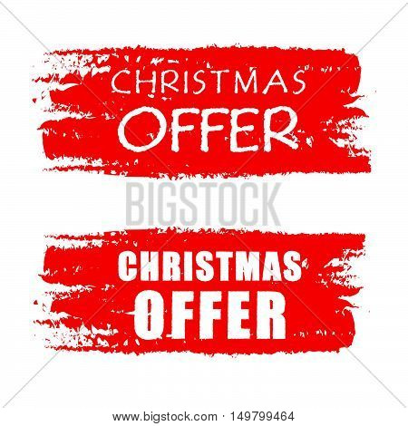 christmas offer - text on red drawn banners, business holiday concept, vector