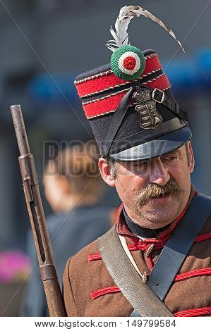 TIMISOARA ROMANIA - OCTOBER 1 2016: Hungarian infantry soldier with uniform from 1848 style during the Days of hungarian culture