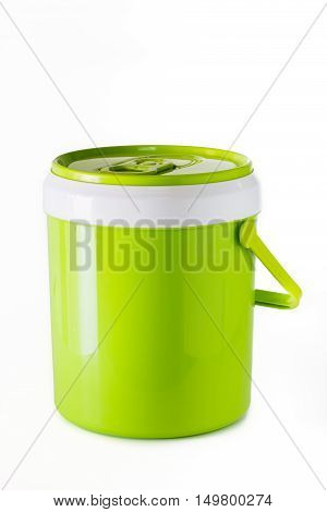 green water canteen isolated on white background.