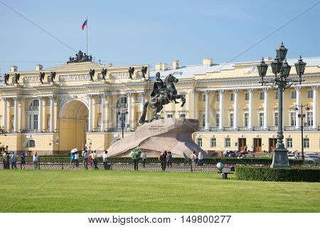 SAINT PETERSBURG, RUSSIA - JULY 28, 2016: Monument to Peter the Great on the background of the building of the Constitutional court of Russia. Historical landmark of the city Saint Petersburg.