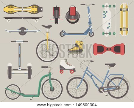 Collection of alternative city transport. Urban wheels and bikes. Kick scooter, monowheel, bicycle, skateboard, longboard, gyroscooter, roller skates, balance board and seagway. Eco transport set.