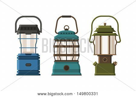 Vintage diode lantern set isolated on white background. Different camping lamp collection. Modern lanterns vector illustration. Various handle gas lamps for tourist hiking.