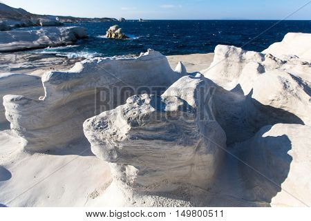 Moon landscape - mineral formations on the coast of Milos island in the Aegean sea, Greece.